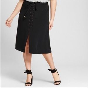 Who What Wear Black Lace up Skirt Size 10